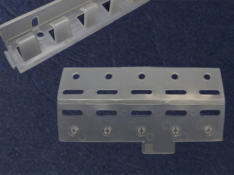 Elementy mocowania kurtyny paskowej z tworzywa pcv grzebień easyline oraz płytki easyclick