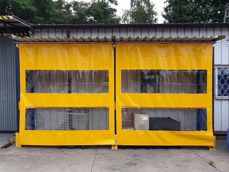 Kurtyny plandekowe z elastycznej folii PCV, nieprzezroczyste z przejrzystymi oknami