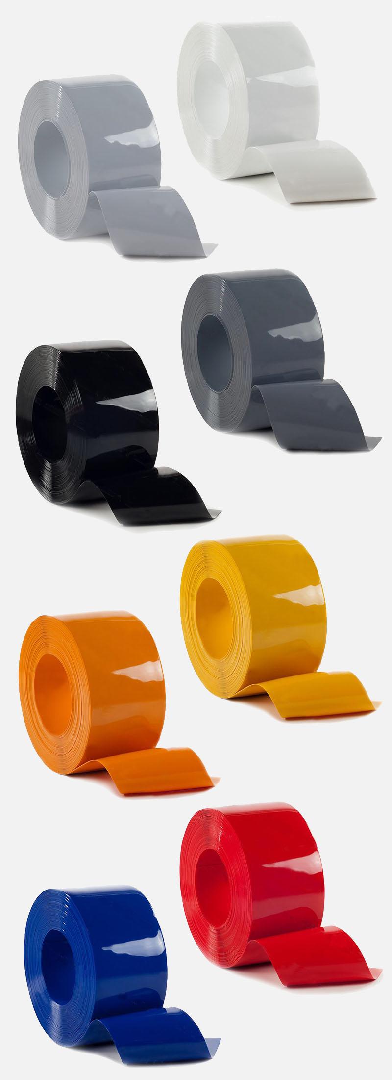 nieprzezroczyste pasy PCV kolorowe: białe, jasnoszare, ciemnoszare, czarne, żółte, pomarańczowe, czerwone a także niebieskie