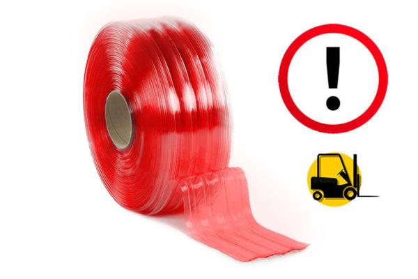 Czerwony żebrowany pas PCV do zastosowań przemysłowych - dla wózków widłowych