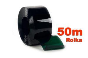 Pas PCV zielony transparentny na rolki 50m