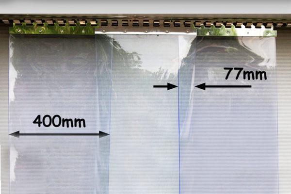 Kurtyna magazynowa z pasów 400x4 mm z zakładem 77mm