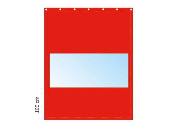 Kurtyna plandekowa z wgrzanym oknem, czerwona. Wymiary 3x3,5m