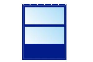 Niebieska kurtyna z plandeki 3,5m x 4m z podwójnym oknem