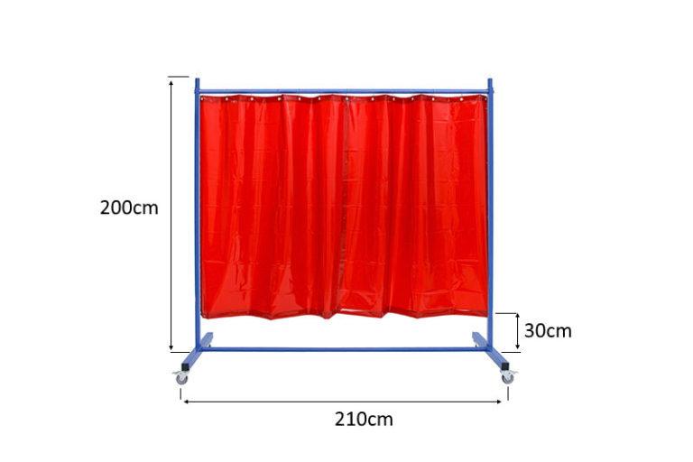 Mobilny ekran spawalniczy 21Z czerwony z zasłonami ScreenFlex - szkic z wymiarami
