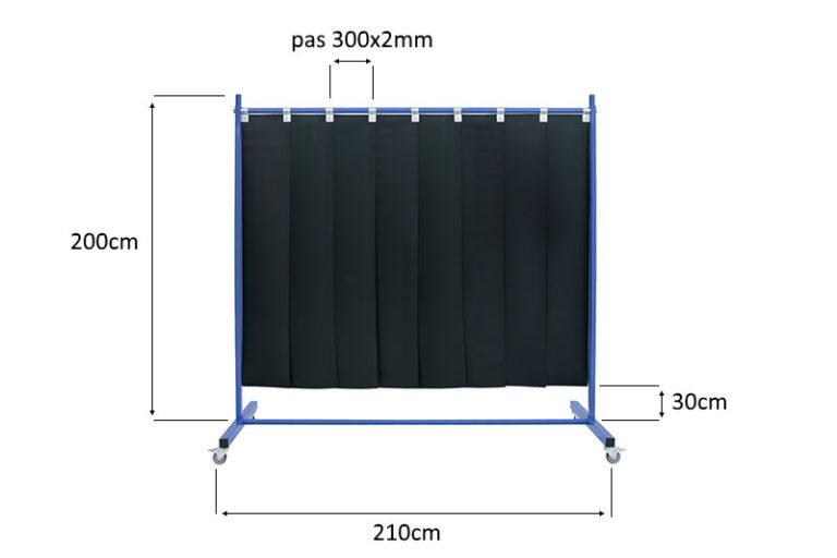 Ekran spawalniczy z pasów 300x2mm wymiary