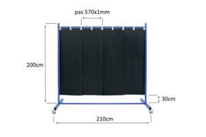 Ekran mobilny spawalniczy z lameli 570x1mm - wymiary