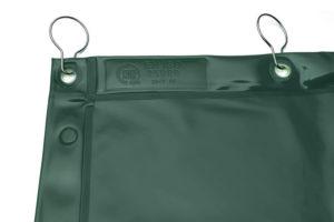 Zielona zasłona spawalnicza ISO 25980 z haczykami