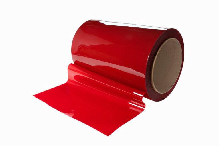 Czerwony pas spawalniczy o szerokości 570 mm i grubości 1 mm zgodny z normą ISO 25980
