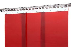 Kurtyna spawalnicza czerwona z pasów folii ScreenFlex 300x2mm
