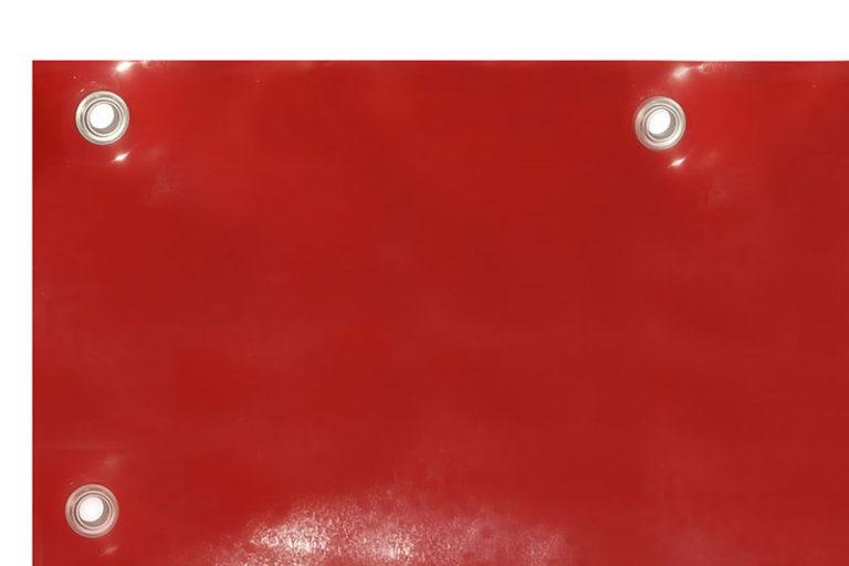 Plandeka spawalnicza czerwona, oczkowana z foli ScreenFlex o grubości 0,4mm